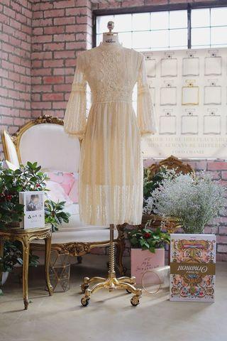 Milkcocoa同款洋裝優雅復古宮廷風長袖中長款全蕾絲唯美浪漫洋裝