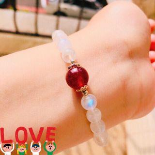 💖現貨💖天然鴿血紅草莓晶斯里蘭卡冰種藍月光手珠