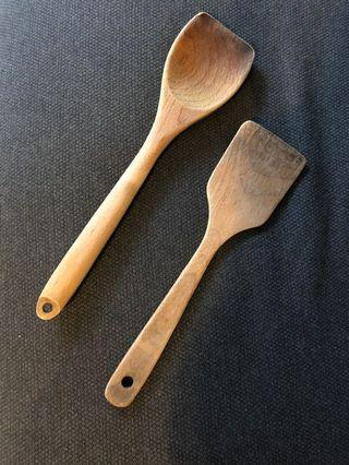 Wooden spatula (as mixing tool / stirring tool) - used