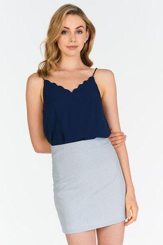 TCL Mae Scallop Hem Top (Navy)