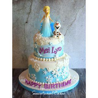 Princess Elsa Frozen winter theme 3d children birthday girl design 3d customized cake #singaporecake