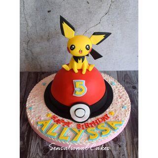 Pichu Pokemon 3d children birthday boy theme 3d customized cake #singaporecake
