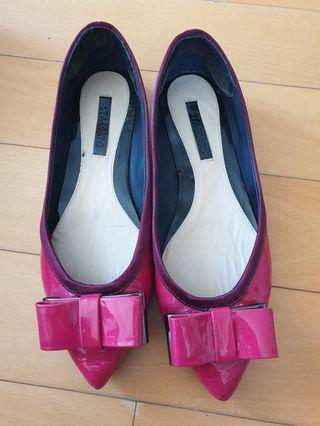 Hot Pink Leather Staccato Pumps