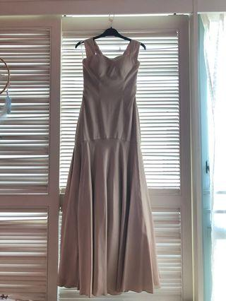 Champagne/Nude Golden Satin Mermaid Graduation Dinner / Evening Gown / Maxi Dress