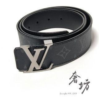 LV M9043N 新款INITIALES 黑色字紋雙面皮帶100cm/40腰 奢坊精品