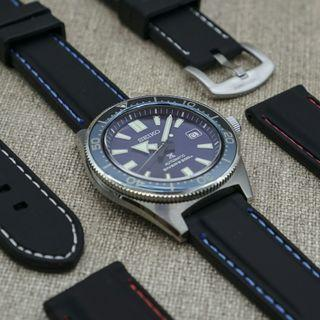 Premium Rubber Strap Black with Blue stitching 22mm