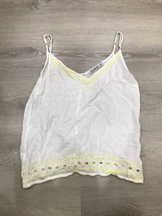 🚚 White Yellow Lace Cami Top