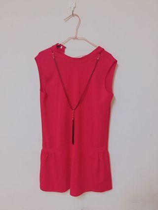 🚚 降價出清👏氣質紅色洋裝 超吸睛 附前面配件