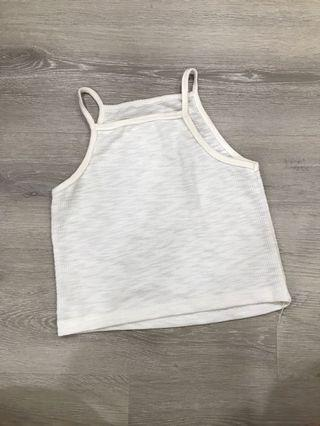 🚚 White Halter Neck Ribbed Crop Top