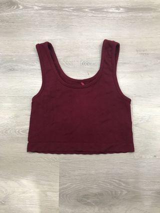 🚚 Wine Red Maroon Ribbed Crop Top