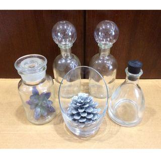 Good Deal! DECORATIVE GLASS Containers & Bottles (Set of 5)