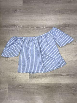 🚚 Blue Striped Off Shoulder Top