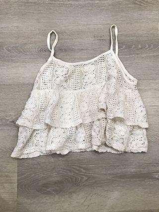 🚚 white crochet lace cami crop top