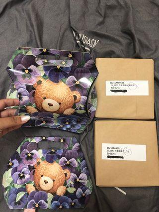 🚚 婚宴喜糖盒+紫色熊萬用盒