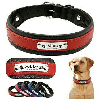 [Pre-Order] Personalized Leather Dog Collar Customized Engraved Pet Big Dog Collars Padded