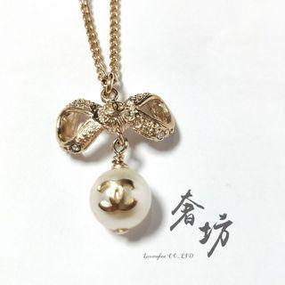 Chanel 香奈兒 蝴蝶結造型水鑽珍珠項鍊 奢坊精品