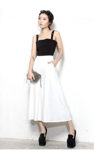 🚚 YHF Swing Swinging Midi Skirt (White)