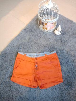 Orange Button Shorts #CarouRaya