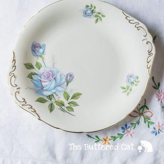 Vintage Paragon blue rose cake serving plate