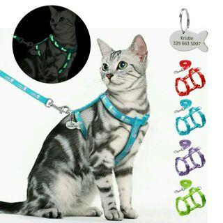 [Pre-Order] Nylon Cat Harness and Leash Set With Customized Id Tag Cats kitten Harnesses Anti Lost Name Tag
