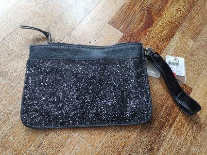 Black crystal velvet pouch