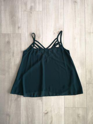 Korean Style Sheer Green Strappy Top