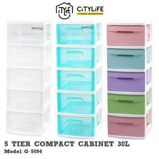 50L 5 Tier Compact Storage Cabinet Drawers