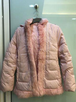Used wintertime pink feather down jacket. Very warm and good for winter time