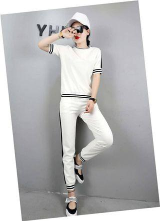 Clearance BN White Sporty Wear (Blouse+Pant) - B