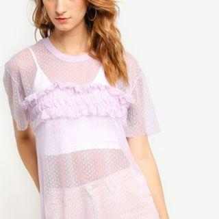 Original Topshop Lilac Netted Ruffles Oversized Top