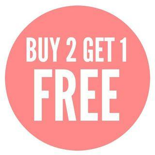 Buy 2 get 1 free on everything listed!