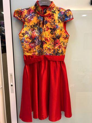 High quality cheongsam dress with flare skirt. Very good quality