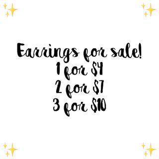 #3 earrings for sale! ✨