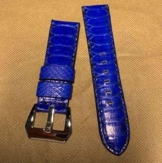 24/22mm blue python strap