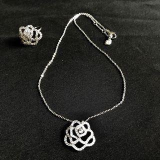 Swarovski Silver and Crystal Rose Set