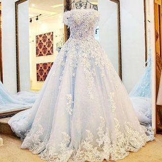 Wedding Gown Luxurious Blue ribbon