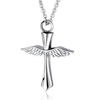 《 QBOX 》FASHION 飾品【C19N1517】精緻個性十字架翅膀香水盒鈦鋼墬子項鍊