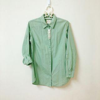 🚚 Lativ純色棉質長袖襯衫 灰綠M