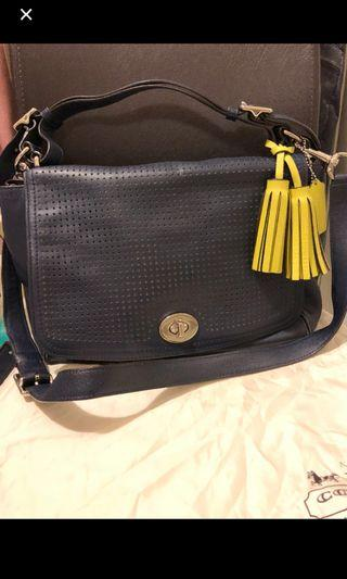 Authentic Coach Perforated Navy 2 way bag . Very good condition . Come along with dust bag and authentic card .