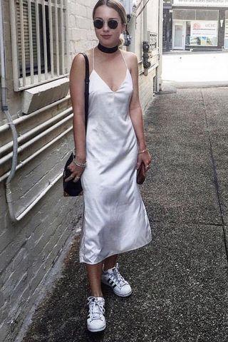 shakuhachi white pfeiffer slip dress