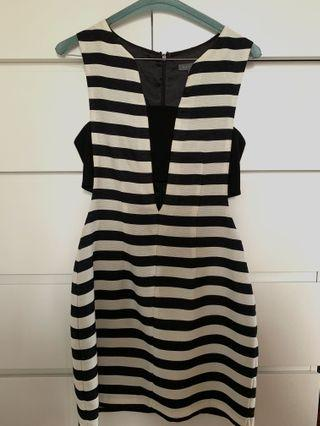 SHEIKE BLACK AND WHITE STRIPPED FORMAL DRESS