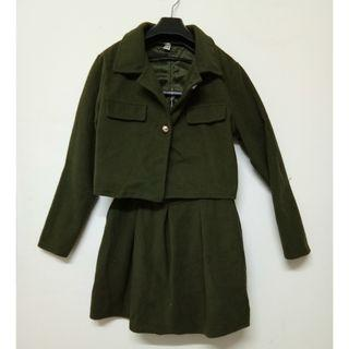 Army Green 2 Pieces Skirt Suit