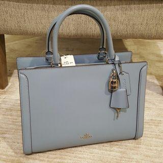 Coach Zoe Carryall in Light Blue Smooth Calf Leather