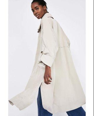 超有型 歐美春夏長版大衣 薄外套 薄大衣 米色 杏色 卡其 類似Burberry
