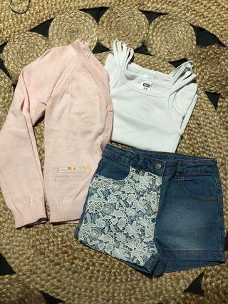 Girls Shorts Singlets (x3) and Cardigan