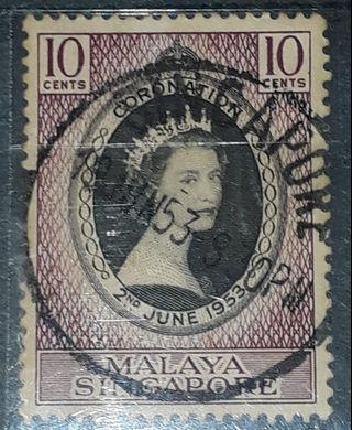 Singapore stamps queen Elizabeth (1953 jun 18 ) 8.30pm