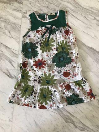 Comfortable cotton floral green dress for 8-9 yr olds