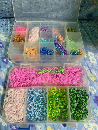 Two boxes Colourful rainbow Loom Bands