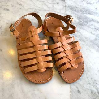 Brand New Genuine Leather Cage Gladiator Sandals Flats Shoes Womens Nude Camel Brown