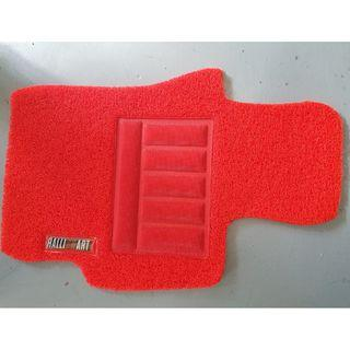 2008 TO 2017 MITSUBISHI LANCER EX, RALLIART LANCER OEM FITMENT CAR FLOOR COIL MATS 3 PCS RED ON RED COLOR HEEL PADS WITH RALLIART LOGO ON THE DRIVER SIDE...